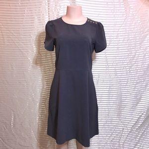 Loft Dark Gray Capped Mid Sleeve Shift Shell Dress